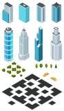 Isometrische Stadtplanschaffungsausrüstung mit Gebäuden, Straßen, Bäumen, Büschen und Auto Stockfoto