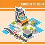Isometrische Stadtstraße mit Gebäuden, Café auf dem Fluss Lizenzfreie Stockfotos