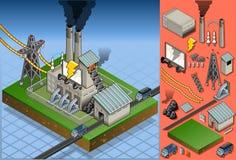 Isometrische steenkoolinstallatie in productie van energie Stock Foto