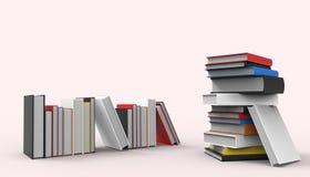 Isometrische Stellung der Buch-Gruppen minimal und moderne Kunst auf Hintergrund und Pastell-Rosa stock abbildung