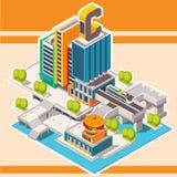 Isometrische Straße mit Gebäuden stadt Einkaufsumbauten und -ikonen Lizenzfreie Stockfotografie