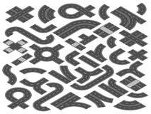 Isometrische Straße oder Landstraße Gerade vector gebogene und Überfahrtstadtstraßen-Straßenelemente für Reisekarte Illustration vektor abbildung
