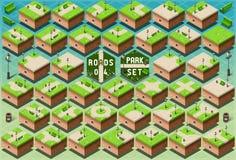Isometrische Straßen auf grünem Stadt-Park Stockfotografie