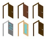 Isometrische Tür Sammlung isometrische offene Türen mit Griff Flaches 3d modern, Haus oder Büro, hölzerne, weiße Türen Stockbild
