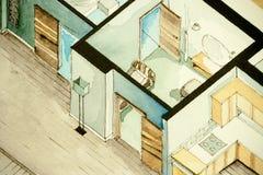 Isometrische teilweise Architekturaquarellzeichnung des Wohnungsgrundrisses, künstlerische Annäherung zum Immobiliengeschäft symb Lizenzfreie Stockfotografie