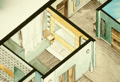 Isometrische teilweise Architekturaquarellzeichnung des Wohnungsgrundrisses, künstlerische Annäherung zum Immobiliengeschäft symb Lizenzfreie Stockbilder