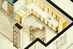 Isometrische teilweise Architekturaquarellzeichnung des Wohnungsgrundrisses, künstlerische Annäherung zum Immobiliengeschäft symb Stockfotos