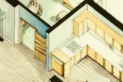 Isometrische teilweise Architekturaquarellzeichnung des Wohnungsgrundrisses, künstlerische Annäherung zum Immobiliengeschäft symb Lizenzfreies Stockfoto