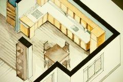 Isometrische teilweise Architekturaquarellzeichnung des Wohnungsgrundrisses, künstlerische Annäherung zum Immobiliengeschäft symb Stockfoto