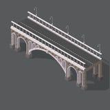 Isometrische tekening van een steenbrug Royalty-vrije Stock Afbeelding
