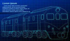 Isometrische treinblauwdruk in technologiestijl royalty-vrije illustratie