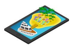 Isometrische Tropeninsel auf Handy oder Tablette Stockfotografie