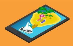 Isometrische Tropeninsel auf Handy oder Tablette Lizenzfreie Stockfotografie