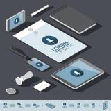 Isometrische Unternehmensidentitä5sschablone Lizenzfreies Stockfoto