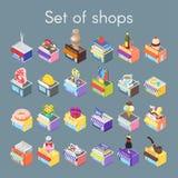 Isometrische vector 3d illustratie van winkels Royalty-vrije Stock Afbeelding
