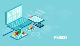 Isometrische vector van financiële apps en de diensten op laptop en moderne gadgets op blauwe achtergrond stock illustratie