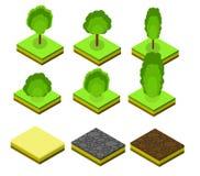 Isometrische vectorbomenelementen voor landschapsontwerp Royalty-vrije Stock Fotografie