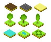 Isometrische vectorbomenelementen voor landschapsontwerp Stock Afbeelding