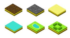 Isometrische vectorbomenelementen voor landschapsontwerp Royalty-vrije Stock Foto