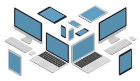 Isometrische vectorreeks van gadget vector illustratie