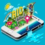 Isometrische Vektor-Illustration Brasiliens Rio Summer Infographic 3D Stockfoto