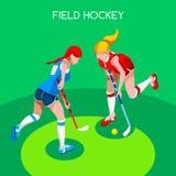 Isometrische Vektor-Illustration der Hockey-Sommer-Spiel-3D Lizenzfreie Stockfotos