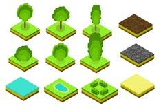 Isometrische Vektorbaumelemente für Landschaftsdesign Stockbilder