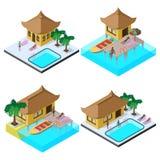 Isometrische Vektorbildmenge mit Bungalows, Motorbooten, Schwimmbädern, sunbeds, Regenschirm, Palmen und Leuten Lizenzfreies Stockfoto