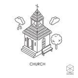 Isometrische Vektorikonenkirche auf einem weißen Hintergrund Stockfotografie