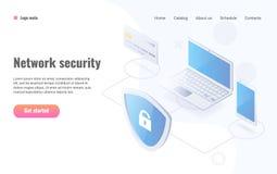 Isometrische Vektorillustration des Datenschutzes Netzwerksicherheitswebsiteplan lizenzfreie abbildung
