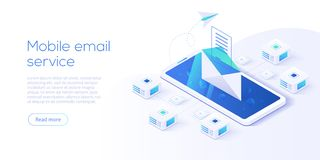 Isometrische Vektorillustration des E-Mail-Service Elektronische Post mes lizenzfreie abbildung