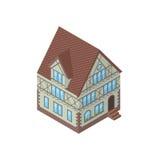 Isometrische Vektorillustration des Tudorstilhauses, Lizenzfreie Stockbilder