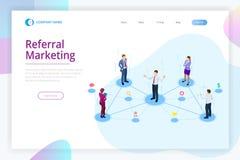 Isometrische Verwijzing marketing, netwerk marketing die, de strategie van het verwijzingsprogramma, vrienden, bedrijfsvennootsch royalty-vrije illustratie