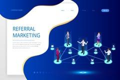 Isometrische Verwijzing marketing, netwerk marketing die, de strategie van het verwijzingsprogramma, vrienden, bedrijfsvennootsch stock illustratie