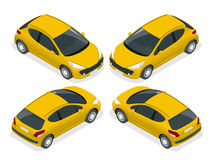 Isometrische vijfdeursauto Isometrische Vectorillustratie De reeks voorwerpen tegen schrijft achtergrond die en getoond worden ge Royalty-vrije Stock Afbeeldingen