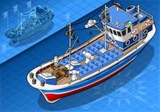 Isometrische Vissersboot in Front View Royalty-vrije Stock Afbeelding