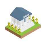 Isometrische vlakke bankvector met dollarsymbool Royalty-vrije Stock Afbeelding