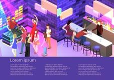 Isometrische vlakke 3Dconcept-schemabar in de nachtclub royalty-vrije illustratie