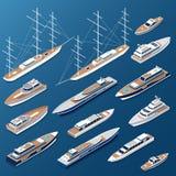 Isometrische vlakke jachten en boten vectormarine stock illustratie
