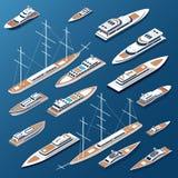 Isometrische vlakke jachten en boten vectormarine vector illustratie