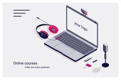 Isometrische vlakke malplaatjehome page van online cursussen met laptop, flitsaandrijving, microfoon en hoofdtelefoons vector illustratie