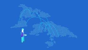 Isometrische vlakke naadloze het van een lus voorzien geanimeerde concept van de elektronische handel het Globale Betaling stock illustratie