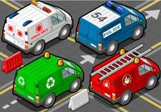 Isometrische Vrachtwagensbrandbestrijders, politie, ziekenwagen, vuilnisman Stock Fotografie