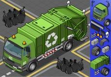 Isometrische vuilnisauto vector illustratie