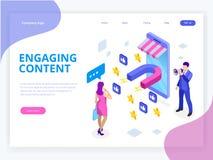 Isometrische Webbanner met het In dienst nemen Inhoud, Inhoud Marketing Succes, Marketing Mengeling Sociale influencer Sociale Me vector illustratie
