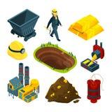 Isometrische Werkzeuge für Minenindustrie stock abbildung