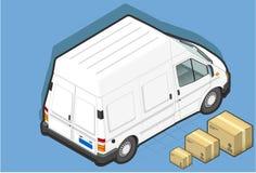 Isometrische witte bestelwagen in achtermening Stock Afbeelding