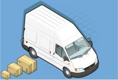 Isometrische witte bestelwagen in vooraanzicht Stock Afbeeldingen