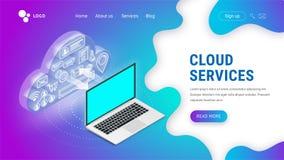 Isometrische Wolkendienstleistungen, die Laptop landen lizenzfreie abbildung
