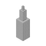 Isometrische wolkenkrabber, de lange bouw Op Royalty-vrije Stock Afbeeldingen